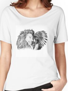 Native American and a Lion Women's Relaxed Fit T-Shirt