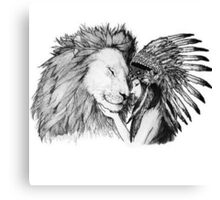 Native American and a Lion Canvas Print