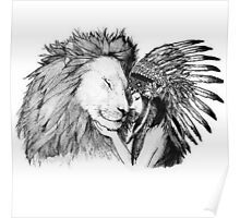 Native American and a Lion Poster