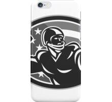 American Quarterback QB Throwing Ball Grayscale iPhone Case/Skin