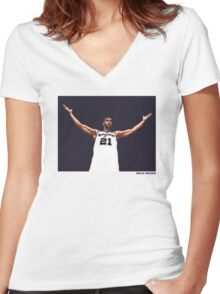 Tim Duncan Retirement Special Edition - SMILE DESIGN Women's Fitted V-Neck T-Shirt