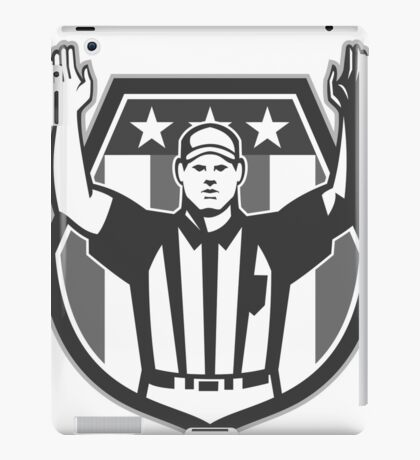 American Football Official Referee Grayscale iPad Case/Skin