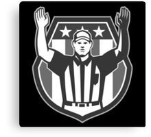 American Football Official Referee Grayscale Canvas Print
