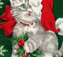 Vintage Christmas Santa Kitten Sticker