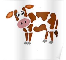Cool Funky Brown and White Cow Art Poster