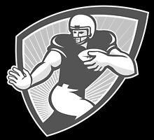 American Football Running Back Shield Grayscale by patrimonio