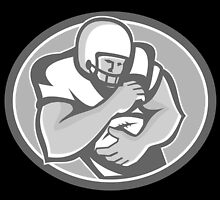 American Football Player Oval Grayscale by patrimonio