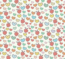 Summer pattern with hearts and strawberries by jentesmiler