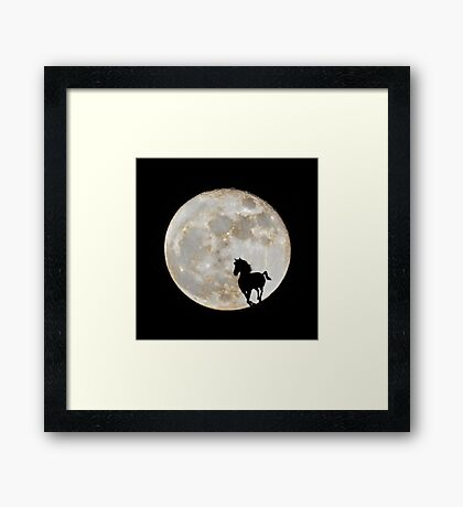 Black horse against a big moon Framed Print