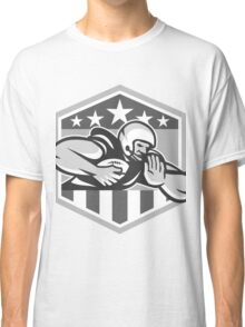 American Football Running Back Fend-Off Crest Grayscale Classic T-Shirt