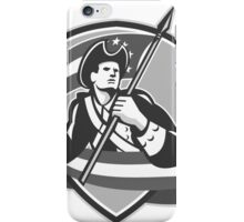 American Patriot Football Soldier Shield Grayscale iPhone Case/Skin
