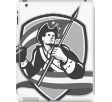 American Patriot Football Soldier Shield Grayscale iPad Case/Skin