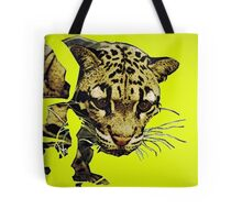 Clouded Leopard in Yellow Tote Bag