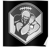 American Gridiron Football Player Fending Grayscale Poster