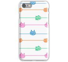 Pastel Cats Pin Stripe iPhone Case/Skin