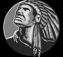 Native American Indian Chief Grayscale by patrimonio