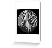 Native American Indian Chief Grayscale Greeting Card