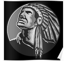 Native American Indian Chief Grayscale Poster