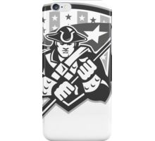 American Patriot Holding Brandish Flag Grayscale iPhone Case/Skin