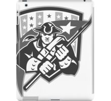 American Patriot Holding Brandish Flag Grayscale iPad Case/Skin