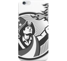 American Patriot Holding Torch Circle Grayscale iPhone Case/Skin