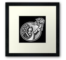 American Patriot Holding Torch Circle Grayscale Framed Print