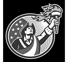 American Patriot Holding Torch Circle Grayscale Photographic Print