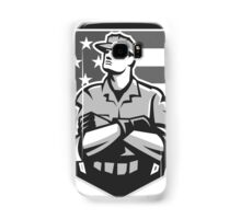 American Soldier Arms Folded Flag Grayscale Samsung Galaxy Case/Skin