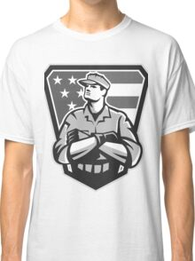 American Soldier Arms Folded Flag Grayscale Classic T-Shirt