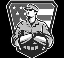 American Soldier Arms Folded Flag Grayscale by patrimonio