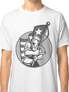 American Patriot Serviceman Soldier Flag Grayscale Classic T-Shirt