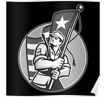 American Patriot Serviceman Soldier Flag Grayscale Poster