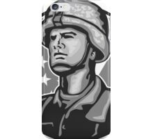 American Serviceman Soldier Flag Grayscale iPhone Case/Skin