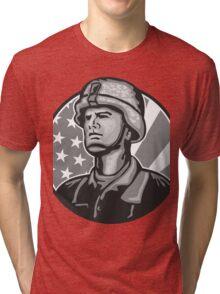 American Serviceman Soldier Flag Grayscale Tri-blend T-Shirt