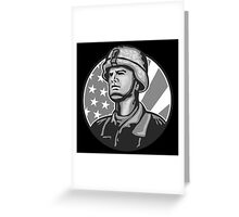 American Serviceman Soldier Flag Grayscale Greeting Card