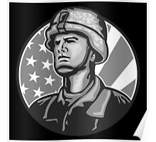 American Serviceman Soldier Flag Grayscale Poster