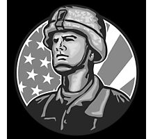 American Serviceman Soldier Flag Grayscale Photographic Print