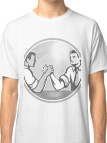 Businessman Office Worker Arm Wrestling Grayscale Classic T-Shirt