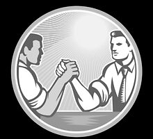 Businessman Office Worker Arm Wrestling Grayscale by patrimonio