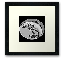 Atlantic Salmon Fish Jumping Grayscale Retro Framed Print