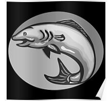 Atlantic Salmon Fish Jumping Grayscale Retro Poster