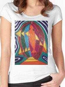 Dali fish - original work on soft wood Women's Fitted Scoop T-Shirt