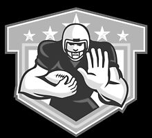 American Football Running Back Fending Grayscale by patrimonio