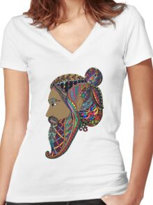 Abstract Bearded Man  Women's Fitted V-Neck T-Shirt