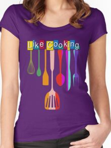 Retro Kitchen Like Cooking Women's Fitted Scoop T-Shirt