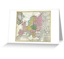 Vintage Map of Europe (1743) Greeting Card