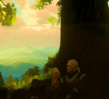 Witcher 3 - Geralt and Ciri under a tree in Toussaint Sticker