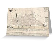 Vintage Map of London England (1744) Greeting Card