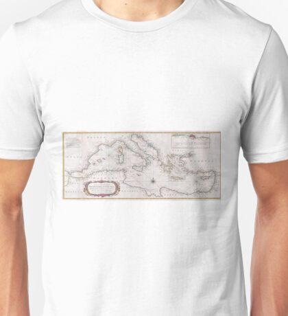 Vintage Map of The Mediterranean Sea (1745) Unisex T-Shirt
