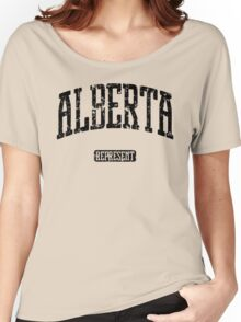 Alberta Represent (Black Print) Women's Relaxed Fit T-Shirt